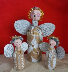 Bottled Up DIY Angel Decorations | Use plastic bottles and papier mache to make these beautiful angel crafts.