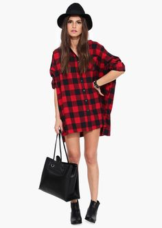 Carolina Oversized Plaid Shirt in Red | Necessary Clothing