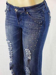 NWT Sweet Look Sexy Fashion Ripped, Rhinestone Embellished Straight Leg Jeans
