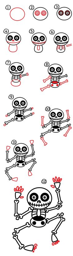 How to draw a skeleton! Follow these easy step by steps to draw your own super cool skeleton.