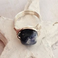 Gemstone Wrap Ring ⭐️ Beautiful Quality Sodalite Gemstone Ring! Awesome Denim Blues with White in this Asymmetrical Gemstone  Handwrapped with Sterling Silver Plated Wire! Also Available in Gold. Size 7 or Custom ⭐️ Size Available Jewelry Rings