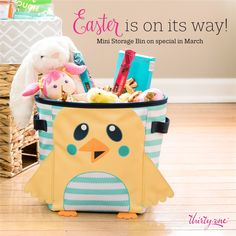 This adorable mini storage bin is on special right now for $8 if you purchase $35. It is so cute as an Easter basket - and then you can use it for storage all year long!  https://www.mythirtyone.com/whatlisacooks/product/8870 (it will say $22 on the page, but after you add $35 of other merchandise to your cart then you can choose it as a special for $8).