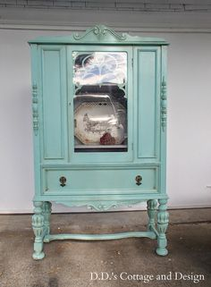 's Cottage and Design: Aqua Cottage Cabinet Painted Curio Cabinets, Antique Cabinets, Painting Kitchen Cabinets, Antique Armoire, Painting Antique Furniture, White Painted Furniture, Paint Furniture, Furniture Update, Furniture Makeover