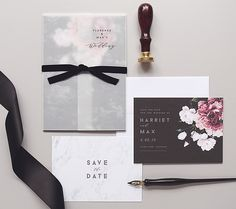 Floral + marble invitations and save the dates by Rachel Marvin Creative