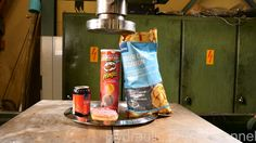 Crushing unhealthy diet with hydraulic press