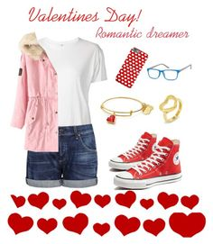 """An casual Valentines Day outfit: A romantic dreamer!"" by mariahzinha11 ❤ liked on Polyvore featuring R13, Citizens of Humanity, Converse and West Coast Jewelry"