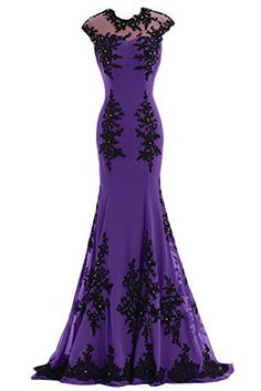 Gorgeous Illusion-Neck Mermaid Applique Chiffon Evening Prom Dresses Source by gras Ball gowns Purple Evening Dress, Purple Gowns, Mermaid Evening Dresses, Evening Gowns, Purple Dress, Trendy Dresses, Cute Dresses, Beautiful Dresses, Fashion Dresses