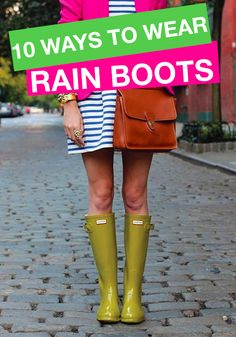 Check out these cool ways to wear rubber rain boots! Gosh I love wellies. Spring Summer Fashion, Autumn Winter Fashion, Summer 2015, Outfit Invierno, Ankle Boots, Hunter Rain Boots, Up Girl, Fall Winter Outfits, Spring Outfits