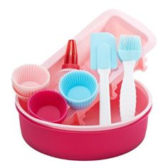 Gorgeous pink & blue silicone bakeware set Includes 12 round cupcake molds, 2 round cake molds, 1 bread mold, 1 spatula and an icing decorating bottle Reuseable, non stick and easy to clean