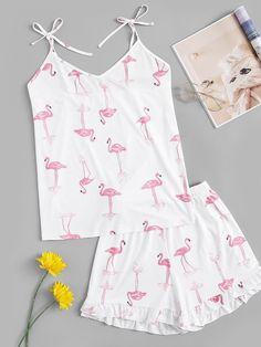 Plus Flamingo Print Knot Pajama Set - Pijamas - BakedChicken Cute Pajama Sets, Cute Pajamas, Girls Pajamas, Pajamas Women, Pajamas For Kids, Plus Size Pajamas, Cute Lazy Outfits, Curvy Outfits, Plus Size Outfits