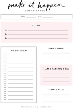 free planner printable andrea nicole daily planner printables