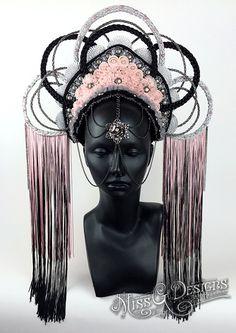 Black & Pink Headdress Crown by MissGDesignsShop on Etsy