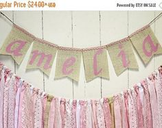 ON SALE NOW Name Banner Burlap, Rag Tie Name Banner, Shabby Chic, Rag Tie Garland, Photo Prop, Cake Smash, Nursery Decor, Birthday Party, Cu