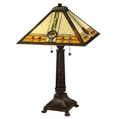 Inch H Carlsbad Mission Table LampInspired by California Mission styled homes, this art glass lamp features a shade with Multicoloredmedallions that dazzle Ceiling Fixtures, Ceiling Lights, Glass Lights, Glass Lamps, Glass Art, Mission Table, Mission Style Homes, Tiffany Table Lamps, Cool Floor Lamps