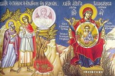 one half of the icon depicts scenes from the Old and the other half from the New Testament. the inscriptions are part of the Rejoicings, hymns sung to the Virgin during the Akathist holy event. Orthodox Icons, New Testament, Lent, Christianity, Religion, Old Things, Princess Zelda, God, Baseball Cards