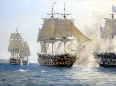 """HMS Sutherland""s Last Battle,"" by Geoff Hunt. Hornblower in action with four enemy ships of the line off Rosas."