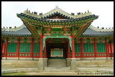 One of the Entrances to Huijeondang Hall at Changdeokgung Palace in Seoul, South Korea Korean Crafts, Landscape Photography, Travel Photography, South Korea, My Images, Seoul, Big Ben, Places Ive Been, Entrance