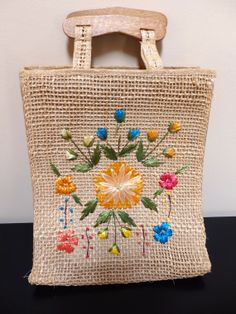 Woven Straw Bag with Floral Embroidery