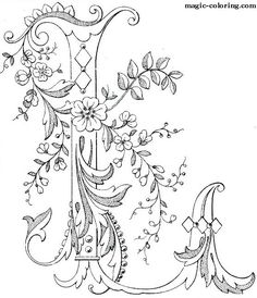 Magic Coloring - Games And Coloring Pages For Kids and Adults. Alphabet Coloring Pages, Colouring Pages, Adult Coloring Pages, Coloring Books, Embroidery Letters, Embroidery Stitches, Hand Embroidery, Embroidery Designs, Creative Lettering