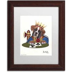 Trademark Fine Art 'King Of Clubs' Canvas Art by Jenny Newland, White Matte, Wood Frame, Size: 11 x 14, Assorted