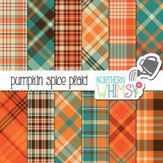 """Autumn Digital Paper - """"Pumpkin Spice Plaid"""" - coordinating papers for the Pumpkin Spice Latte set in orange, blue & brown - commercial use Graphic Patterns, Fall Patterns, Graphic Design, Pretty Patterns, Geometric Patterns, Fall Plaid, Paper Pumpkin, Paint Markers, Pencil Illustration"""