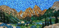 """""""Cascade Canyon"""" stained glass mosaic by Kasia Polkowska"""