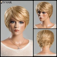 Short Fluffy Straight Tail Upwards Side Bang Spiffy Siv Human Hair Wig For Women #CLICK! #clothing, #shoes, #jewelry, #women, #men, #hats