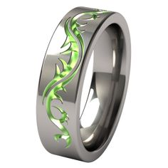 Tattoo Flat Anodized Titanium Wedding Ring Special Price: CA$132.98
