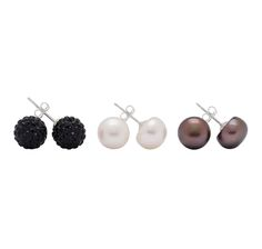 Crystal & Freshwater Pearl Sterling Silver Earrings Set of 3 $24.88 with gift box