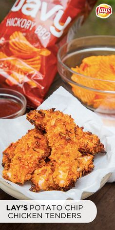 These Potato Chip Chicken Tenders are as easy to make, as they are fun to eat! The not-so-secret ingredient is crushed LAY'S wavy hickory BBQ chips. Simply crush up the chips and coat the tenders. They're crunchy,smoky, and oh-so-delicious! Click for the full recipe and be prepared to wow your guests with this simple hack!