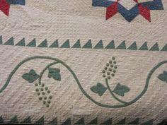 "Detail, Antique 19th C Handmade ""Diamond & Grape"" Quilt, eBay, planetauctiononline"