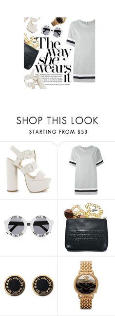 """""""175. Untitled"""" by c-h-e-r-ie ❤ liked on Polyvore featuring Nly Shoes, MSGM, House of Holland, Dimepiece, Marc by Marc Jacobs and Versace"""