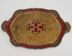 Authentic Florentine Gilded Oval Drinks Tray with Handles, Italian Gold and Red Large Carved serving tray, Cocktail Tray . 1950's Shabby de la boutique LaMachineaBrocantes sur Etsy