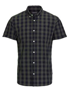 Regular fit, dark green and black checkered shirt with short sleeves and button down collar | JACK & JONES