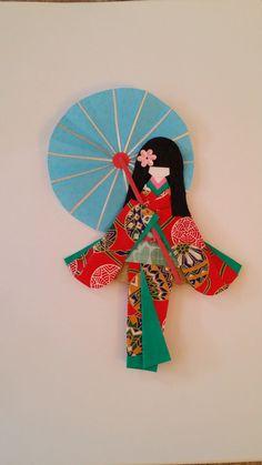 Washi Ningyo (traditional Japanese Kimono paper doll) bookmarks,  art decoration or display decoration