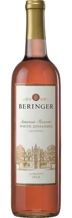Beringer White Zinfandel   -White Zinfandel is an off-dry to sweet, pink-colored blush wine. It is made from the Zinfandel wine grape, which would otherwise produce a bold and spicy red wine. As such, it is not a grape variety but a method of processing Zinfandel grapes. White Zinfandel taste great with pasta dishes ( especially with cream sauces), fish, pork, bacon & pancetta, and mild cheeses.
