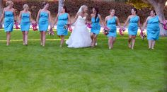 Turquoise bridemaid dress with hot pink heels!