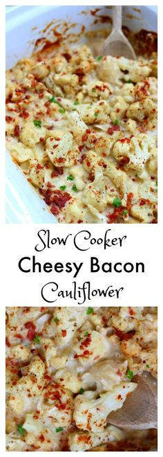 Slow Cooker Cheesy Bacon Cauliflower–a slow cooker cauliflower side dish that is enveloped in a velvety mozzarella cheese sauce and topped with crispy, crumbled bacon.
