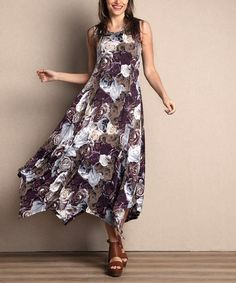 Another great find on #zulily! Maroon Rose Sleeveless Handkerchief Maxi Dress - Plus by Reborn Collection #zulilyfinds