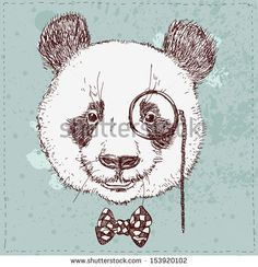 Vintage sketch  illustration of panda bear in hat in vector - stock vector