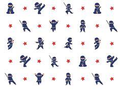 behang ninja jongenskamer blauw rood wallpaper kinderzimmer kinderkamer decor ster