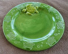 Sea Turtle Dish Plate Custom Made to Order by sunshineceramics