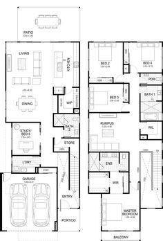 Floor plan for townhouses, the downstairs study woudl be better used for an optional lounge/bedroom. The upstairs linen closet to be transformed into a small study with black steel glass panes opening it up for natural light from the rumps room. Double Storey House Plans, Narrow House Plans, Modern House Plans, Duplex Floor Plans, Home Design Floor Plans, House Floor Plans, Family House Plans, Dream House Plans, The Plan