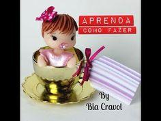 Bebê na xícara - Lembrança de chá de bebê - Bia Cravol - Aula de Biscuit - DIY - YouTube