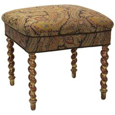 Napoleon III Carved and Gilded Footstool or Ottoman | From a unique collection of antique and modern stools at https://www.1stdibs.com/furniture/seating/stools/