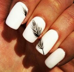 28 Feather nail art