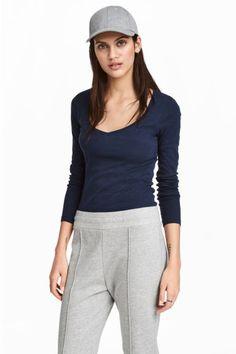 Tričko zklkového džerseja - tmavomodrá melírovaná - ŽENY | H&M SK