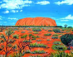 Uluru is the official aboriginal name for Ayres Rock which refers to both the rock itself and the waterhole on top of the rock. to half a million people visit Uluru a year. / x ( on canvas paper framed acrylic / ORIGINAL SOLD ON BLUETHUMB & New Artists, Great Artists, Landscape Art, Landscape Paintings, Small Canvas Paintings, Acrylic Paintings, Art Paintings, Buy Art Online, Aboriginal Art