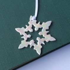 Snowflake Hanging Decoration Porcelain Pearly by melissaceramics, £10.00 #christmasinjuly #christmas #snowflake #hangingdecoration