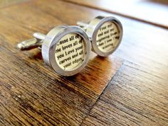 Perfect 5 year wood anniversary gift! Any message or song on wood paper cufflinks!
